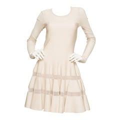 Alaïa Cream Fit and Flare Dress