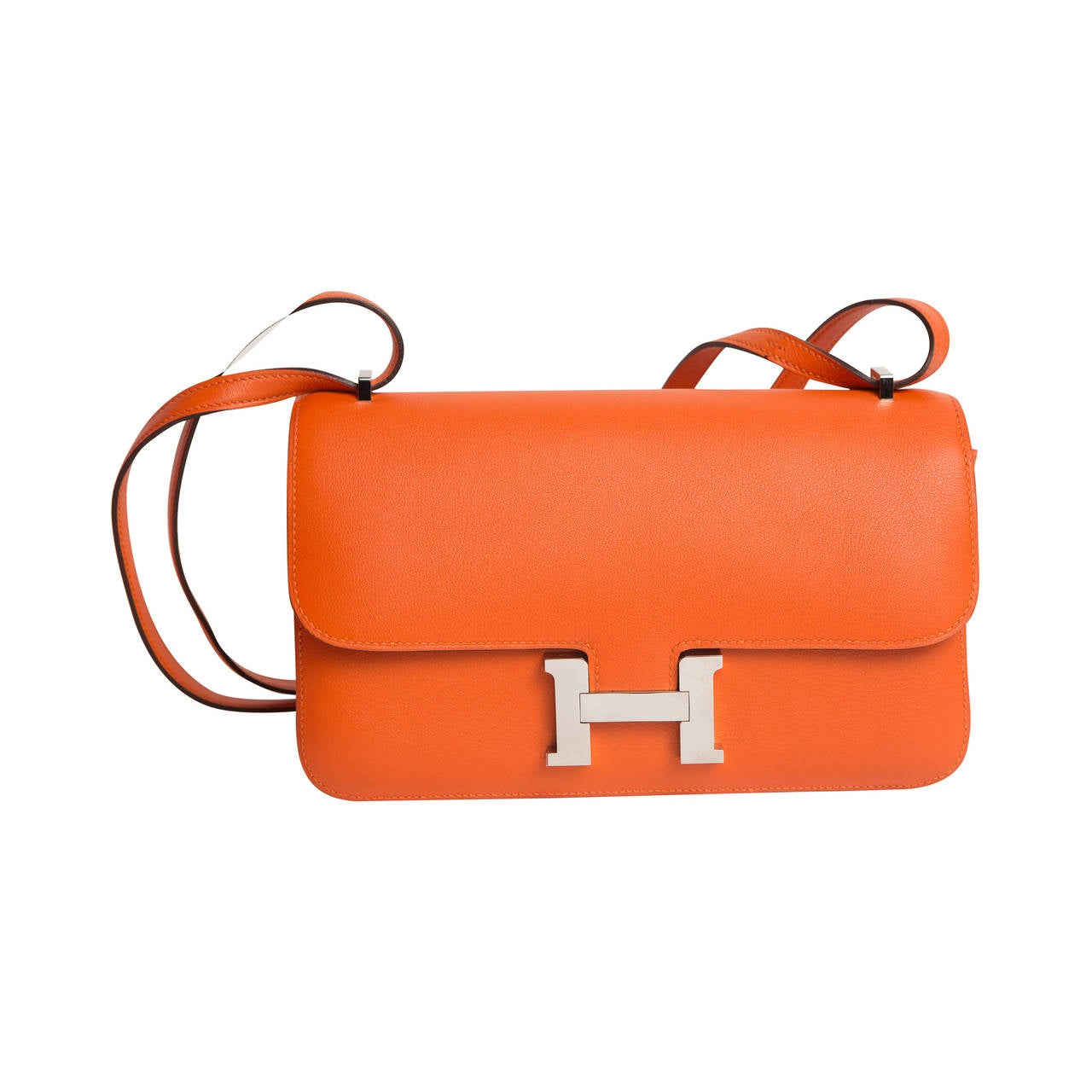 Hermes Orange Leather Contance Handbag with H Logo at 1stdibs