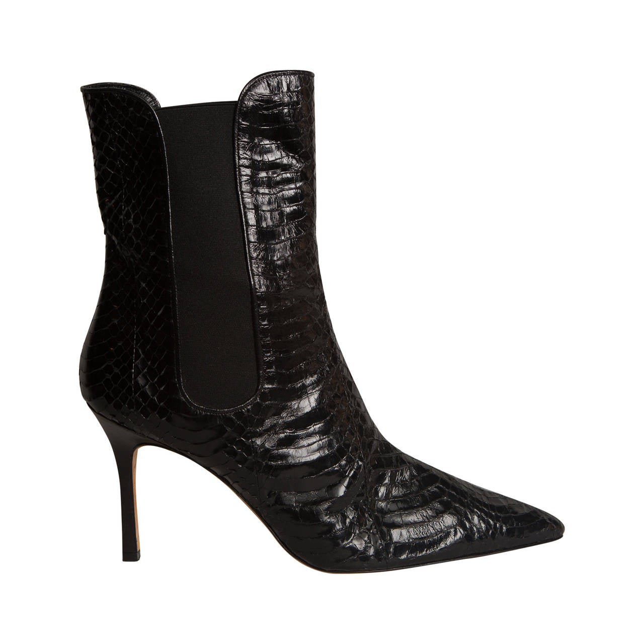 Manolo Blahnik Black Snakeskin Booties