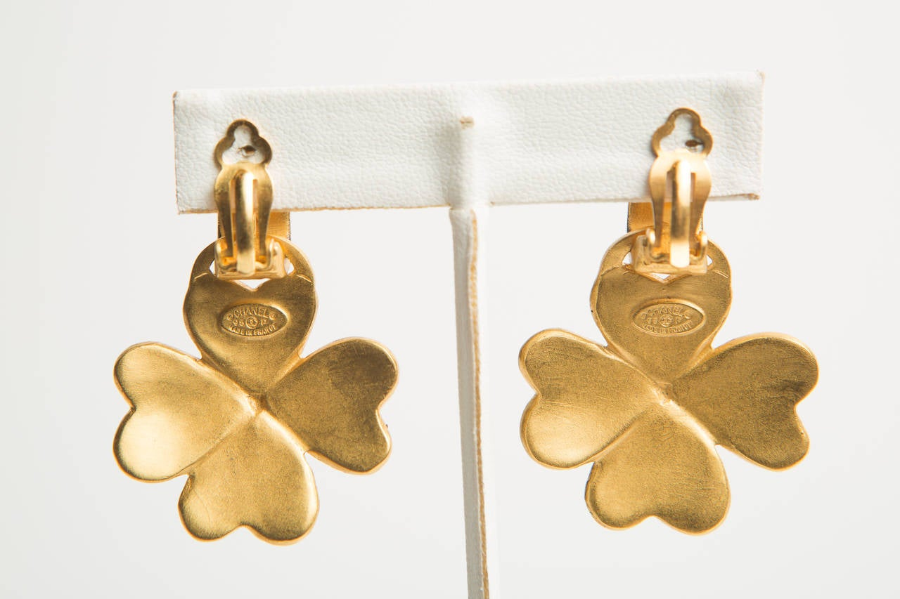 Chanel Gold Clover Dangle Clip Earrings 2