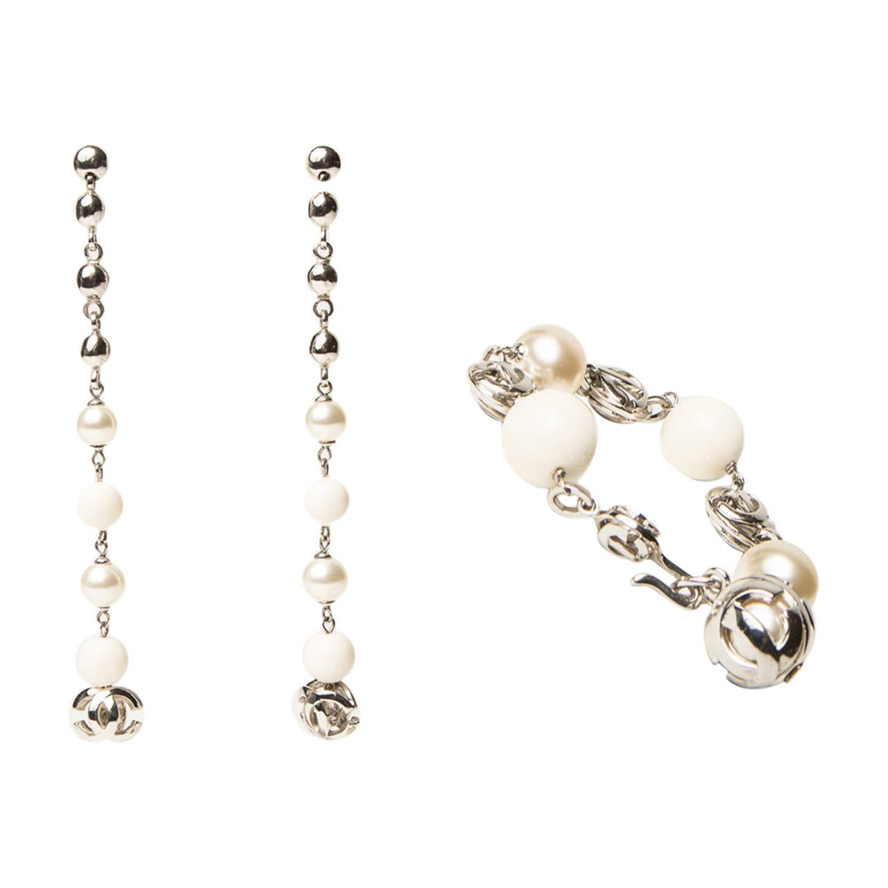 Chanel Pearl Earring and Bracelet Set For Sale