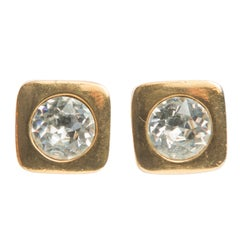Lanvin Gold Headlight Cube Clip Earrings