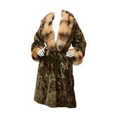 Roberto Cavalli Brocade and Velour Coat with Fur Collar