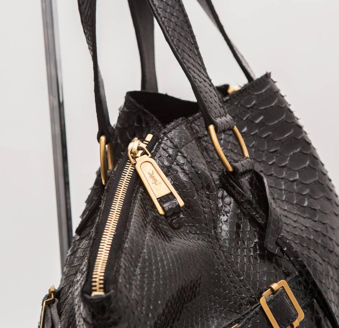 YSL Black Python \u0026#39;Downtown Tote\u0026#39; Bag For Sale at 1stdibs