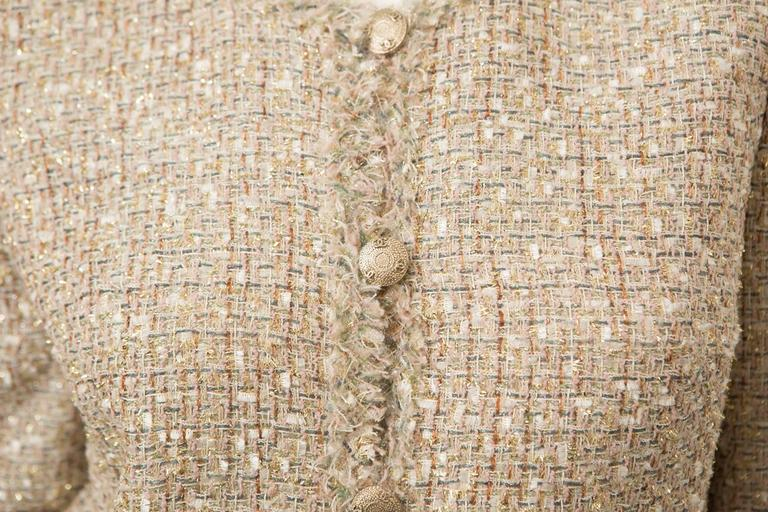 Chanel Gold Tweed Skirt Suit For Sale 2