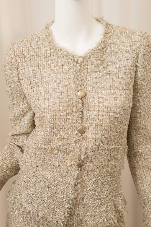 Chanel Gold Tweed Skirt Suit For Sale 3