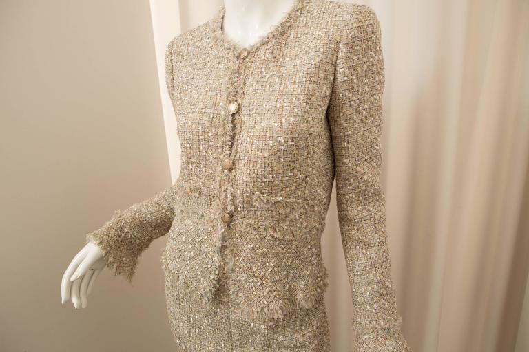 Women's Chanel Gold Tweed Skirt Suit For Sale