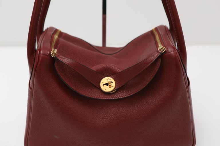 3962aea7c45 Hermes Lindy Burgundy Bag with Gold Hardware For Sale at 1stdibs