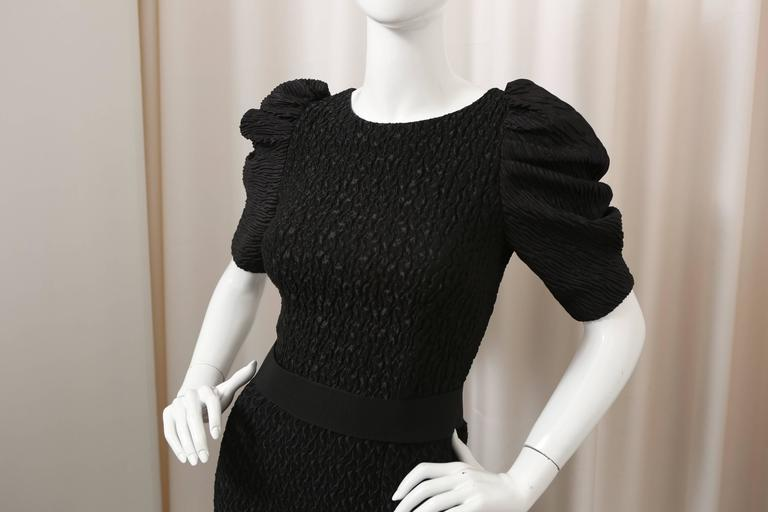 Dolce & Gabbana Puff-Sleeved Black Textured Dress with Attached Belt For Sale 1