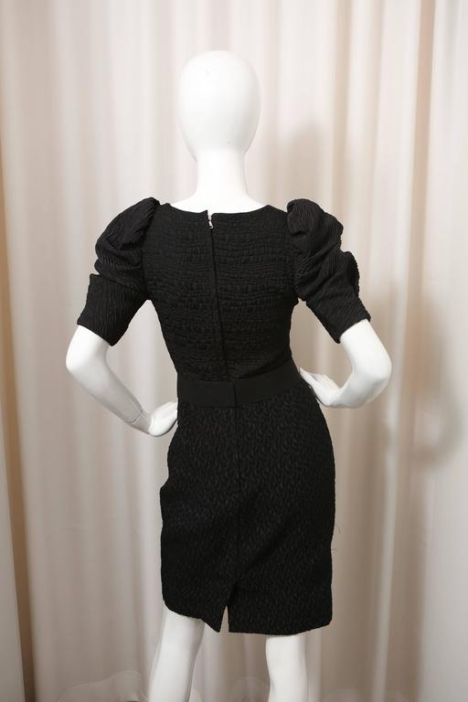 Dolce & Gabbana Puff-Sleeved Black Textured Dress with Attached Belt In Excellent Condition For Sale In Southampton, NY