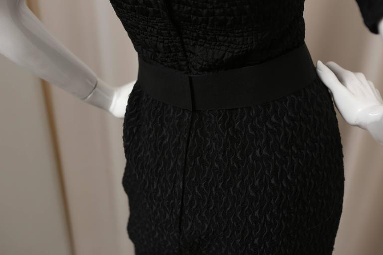 Women's Dolce & Gabbana Puff-Sleeved Black Textured Dress with Attached Belt For Sale