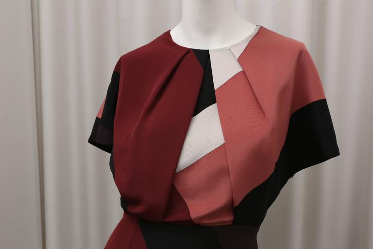 Brown Fendi multi color block cap sleeve dress For Sale