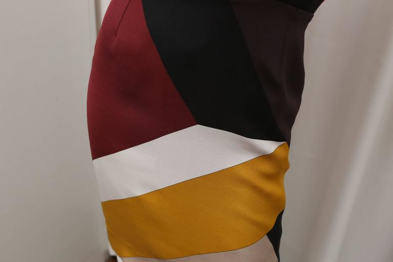 Fendi multi color block cap sleeve dress In New Never_worn Condition For Sale In Southampton, NY