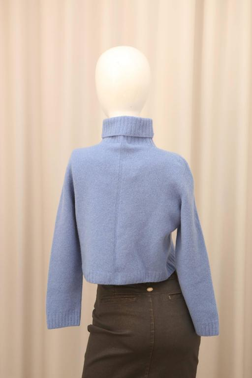 The Row Cropped T-Neck Sweater in Chambray  2