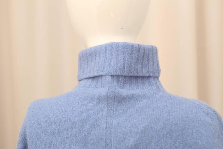 Purple The Row Cropped T-Neck Sweater in Chambray  For Sale