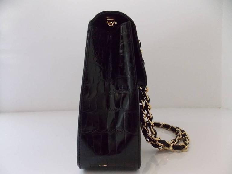 Chanel Black Crocodile Single Flap Handbag 6