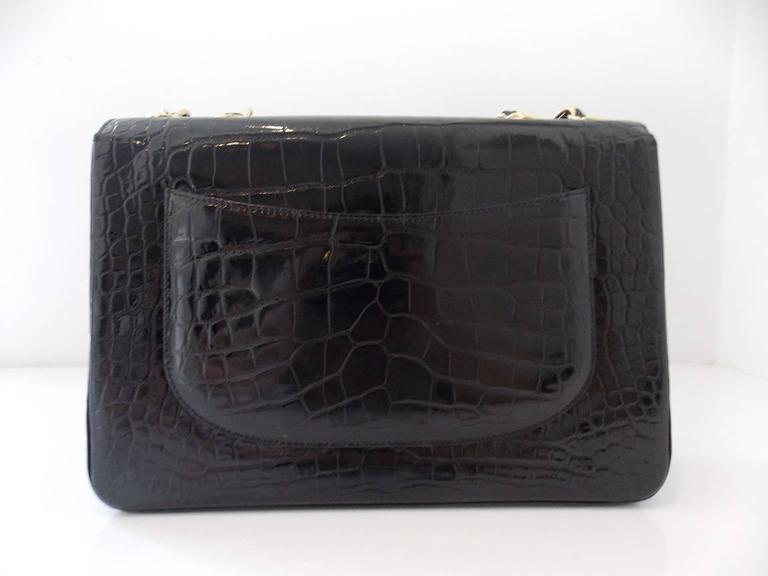 Chanel Black Crocodile Single Flap Handbag 7