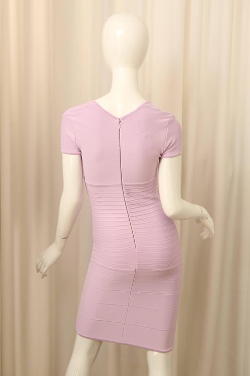 Herve Leger Lilac Short Sleeve Bandage Dress 5