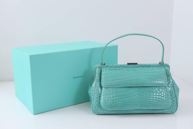 "Women's Tiffany & Co. ""Laurelton"" Crocodile Handbag in Tiffany Blue For Sale"