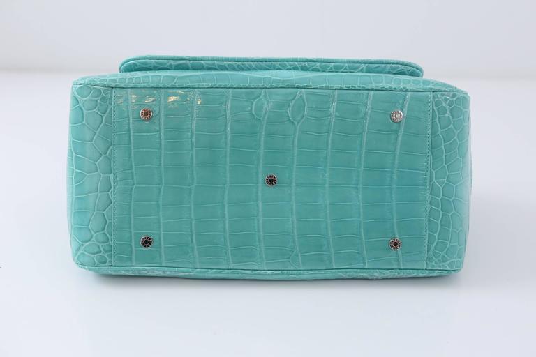 "Tiffany & Co. ""Laurelton"" Crocodile Handbag in Tiffany Blue For Sale 1"