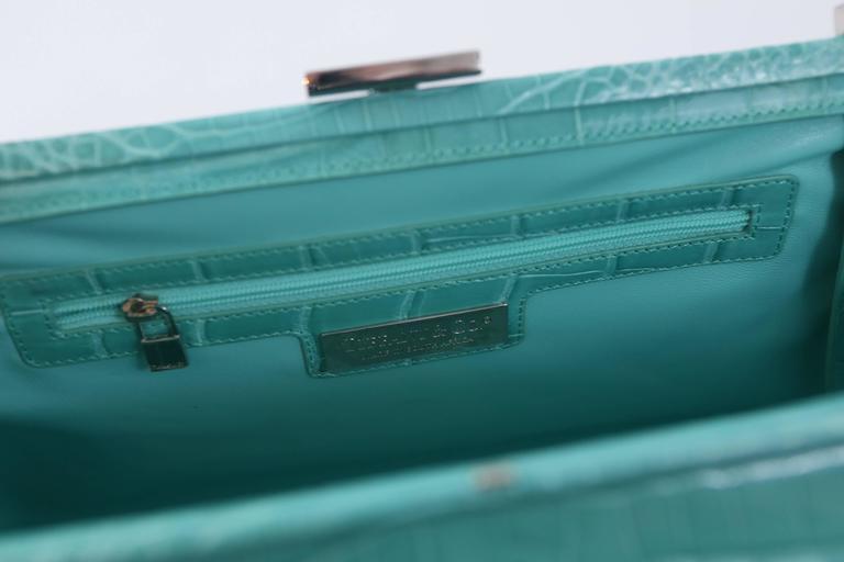 "Tiffany & Co. ""Laurelton"" Crocodile Handbag in Tiffany Blue For Sale 2"