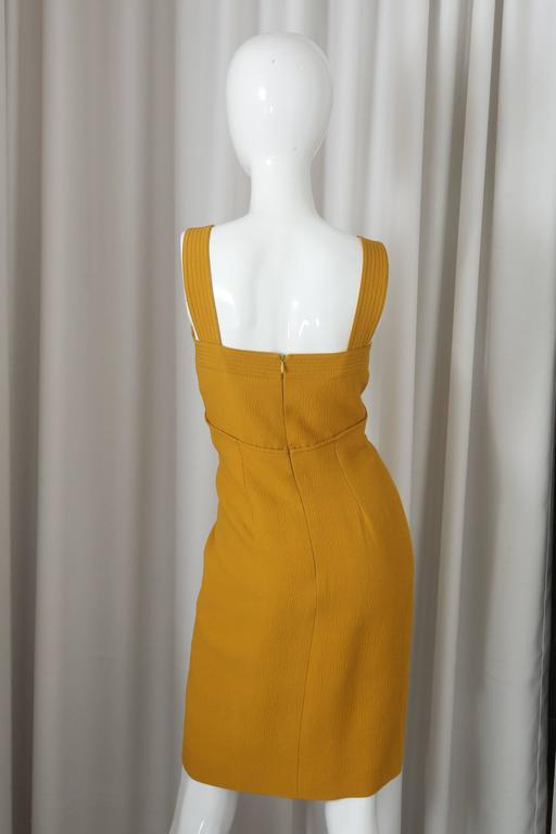 Oscar de la Renta Yellow S/L Dress W/ Front Gathering In Good Condition For Sale In Southampton, NY