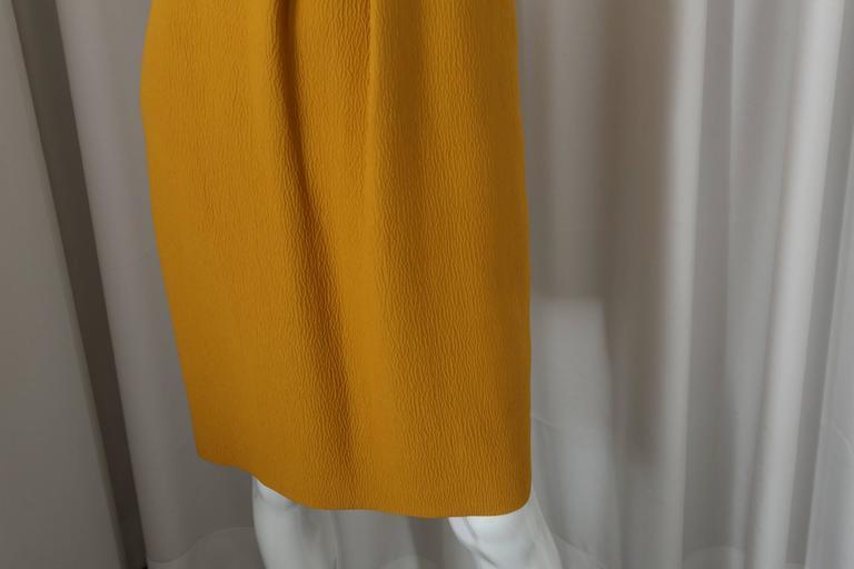 Brown Oscar de la Renta Yellow S/L Dress W/ Front Gathering For Sale