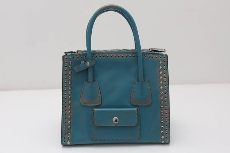 Prada Vitello Vintage Embellished Tote Fall 2014 3
