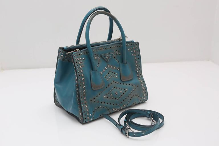 Prada Vitello Vintage Embellished Tote Fall 2014 4