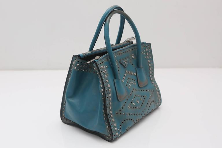 Prada Vitello Vintage Embellished Tote Fall 2014 5
