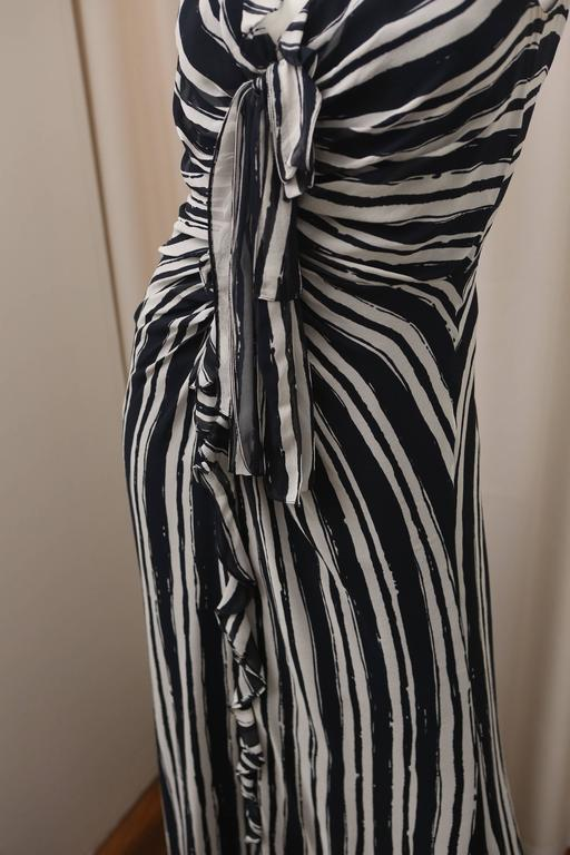 Carolina Herrera S/L Navy/Ivory Striped Gown 3