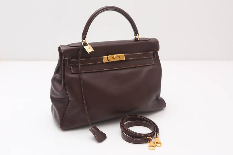 Hermes 32CM Brown Leather Kelly Handbag Circa 1994 For Sale 2