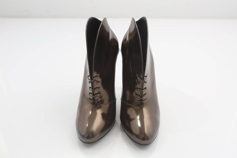 Gucci Tie Up Metallic Bronze Booties  3