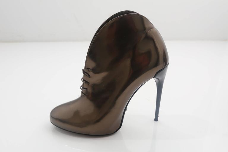 Gucci Tie Up Metallic Bronze Booties  5