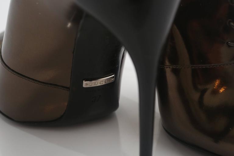 Gucci Tie Up Metallic Bronze Booties  For Sale 2