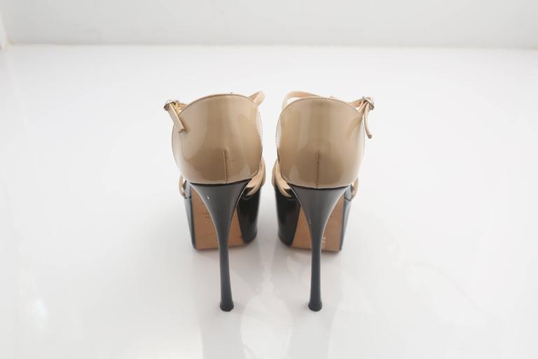 "Giuseppe Zanotti nude and black patent leather platform t-strap sandals   Platform: 2"""