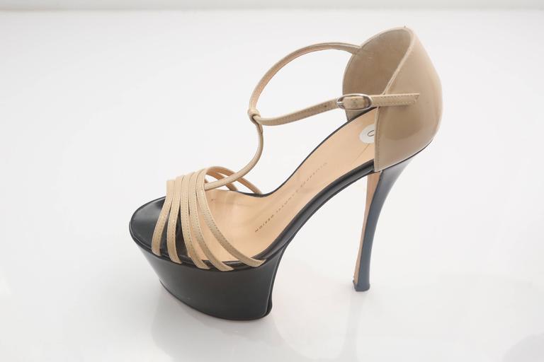 Brown Giuseppe Zanotti Nude& Black Patent Leather Double Platform TT-Strap Sandals For Sale