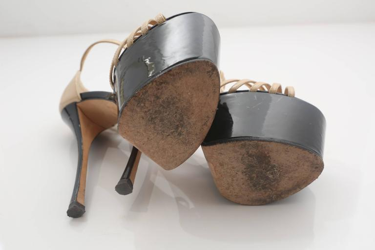 Women's Giuseppe Zanotti Nude& Black Patent Leather Double Platform TT-Strap Sandals For Sale
