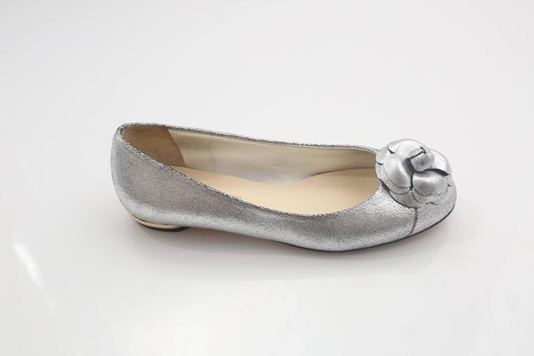 Beige Chanel Silver Flats W/ Rosette  For Sale