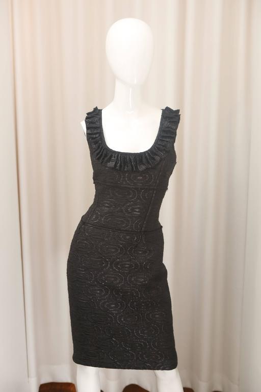 Oscar de la Renta Black Metallic Printed Dress W/ Ruffle Detail 3