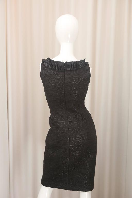 Oscar de la Renta Black Metallic Printed Dress W/ Ruffle Detail 6