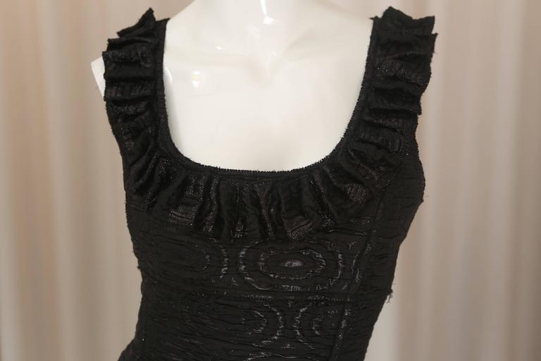 Oscar de la Renta Black Metallic Printed Dress W/ Ruffle Detail 2