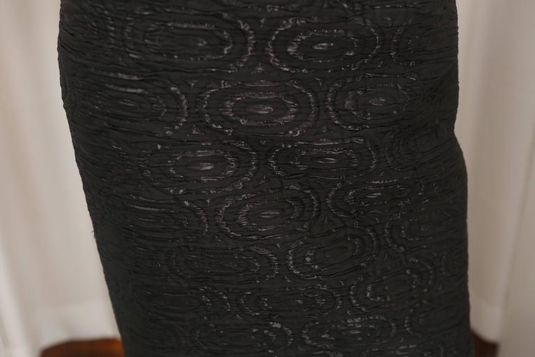 Oscar de la Renta Black Metallic Printed Dress W/ Ruffle Detail 4