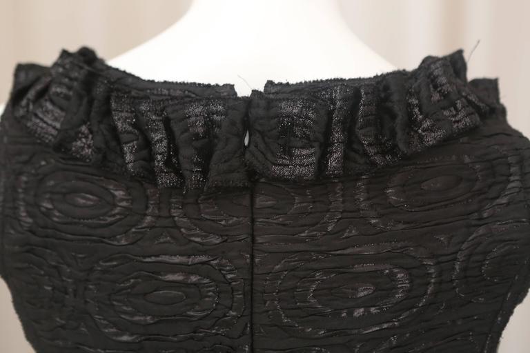 Oscar de la Renta Black Metallic Printed Dress W/ Ruffle Detail 5