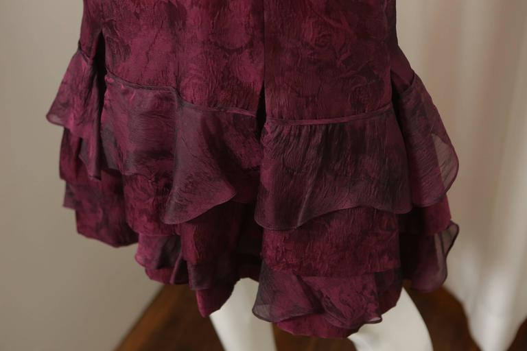 Carolina Herrera S/L Burgundy V-Neck W/ Ruffle Detail  3