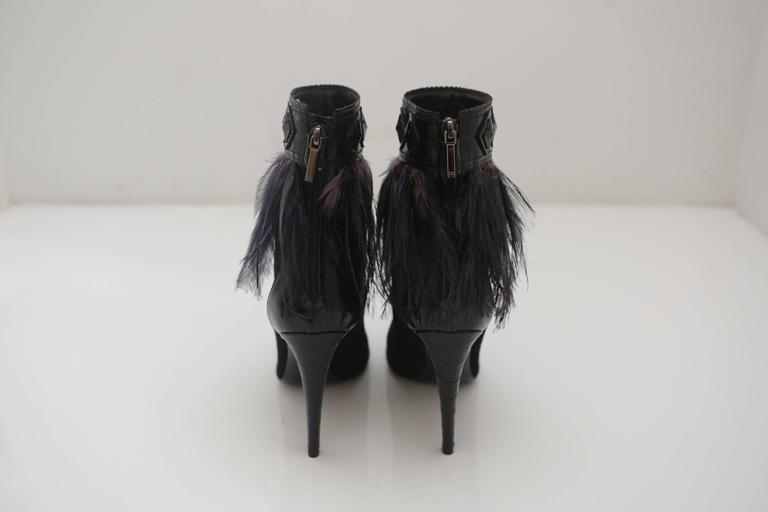 Women's Dior Suede Ankle Boots with Feathers For Sale