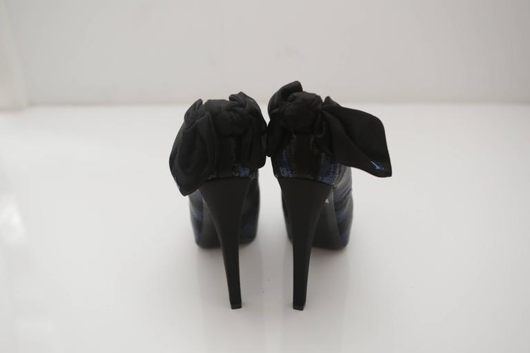 Black Louis Vuitton Sequin Peep-toe Pumps with Bow For Sale