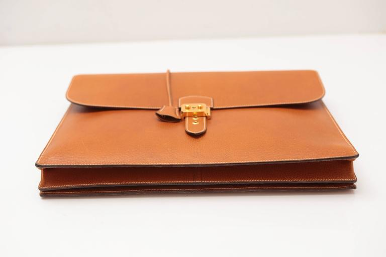 Hermes Sac A Depeches Tan For Sale 2