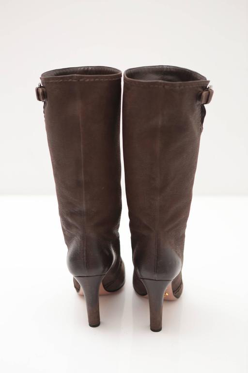 Prada Mid-calf Brown Leather Boots 4