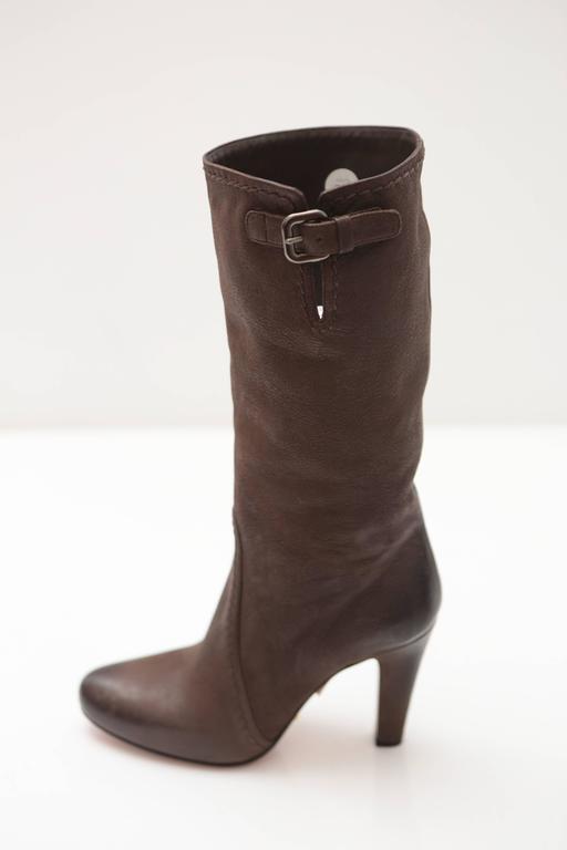 Prada Mid-calf Brown Leather Boots 2